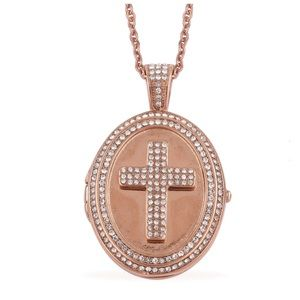Crystal ION Plated Stainless Steel Locket Necklace